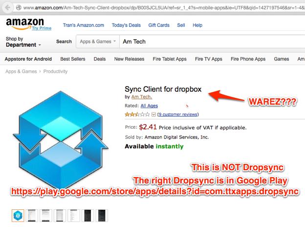Attention: Dropsync is NOT in Amazon Appstore - MetaCtrl